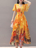 cheap Maxi Dresses-Women's Birthday / Beach Boho / Elegant Flare Sleeve Maxi / Asymmetrical Skater Dress - Geometric High Waist Strapless Summer Yellow M L