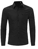 זול חולצות לגברים-אחיד עסקים עבודה כותנה, חולצה - בגדי ריקוד גברים / שרוול ארוך