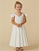 olcso Örömanya ruhák-A-vonalú Tea-hossz Virágoslány ruha - Sifon Rövid ujjú V-alakú val vel Fodrozott által LAN TING BRIDE®