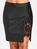 tanie Damska spódnica-Damskie Sztuczna skóra Ołówek Spódnice - Praca Solidne kolory