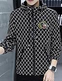 זול גברים-ג'קטים ומעילים-אחיד עם קפוצ'ון ג'קט - בגדי ריקוד גברים כותנה / פשתן / שרוול ארוך
