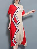 povoljno Ženske haljine-Žene Osnovni Veći konfekcijski brojevi Pamuk Hlače - Jednobojni Crno-crvena, Rese Red / Puff rukav