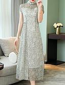 tanie Print Dresses-Damskie Swing Sukienka - Groszki Kołnierz stawiany Maxi