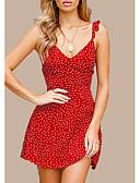ieftine Print Dresses-Pentru femei Zvelt Pantaloni Talie Înaltă Roșu-aprins / Cu Bretele / Ieșire