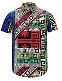 tanie Męskie koszule-Koszula Męskie Podstawowy Stójka Geometryczny / Krótki rękaw
