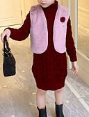 povoljno Haljine za djevojčice-Djeca Djevojčice Ulični šik Dnevno / Izlasci Žakard S izrezom Dugih rukava Umjetna svila Haljina Sive boje 100