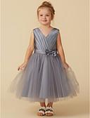 tanie Sukienki dla małych druhenek-Księżniczka Lekko nad kolana Sukienka dla dziewczynki z kwiatami - Satyna / Tiul Bez rękawów W serek z Kokardki / Szafra / Wstążka / Plisy przez LAN TING BRIDE®
