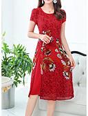 tanie Romantyczna koronka-Damskie Wzornictwo chińskie Zmiana Sukienka Do kolan