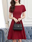 povoljno Ženske haljine-Žene Osnovni Veći konfekcijski brojevi Pamuk Hlače - Jednobojni Crno-crvena, Rese Crn / Puff rukav