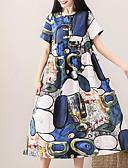 povoljno Ženske haljine-Žene Vintage Puff rukav A kroj Haljina - Rese, Jednobojni / Geometrijski oblici Midi Crno-bijela