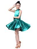 preiswerte Brautjungfernkleider-Latein-Tanz Kleider Mädchen Leistung Elasthan Mit Bändern und Schleifen / Horizontal gerüscht Ärmellos Kleid