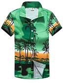 baratos Camisas Masculinas-Homens Camisa Social Básico Estampado, Geométrica