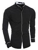 ieftine Tricou Bărbați-Bărbați Guler Standing Cămașă De Bază - Bloc Culoare Peteci / Manșon Lung