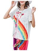 ieftine Tricou-tricou pentru femei - gât rotund curcubeu