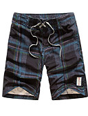 cheap Men's Pants & Shorts-Men's Active Shorts Pants - Plaid Print Blue / Summer / Beach