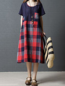 billige Maxikjoler-Dame Strand Tynn T skjorte Kjole U-hals Midi