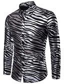 abordables Camisas de Hombre-Hombre Lujo / Básico Fiesta / Discoteca Estampado Camisa A Rayas / Animal / Manga Larga