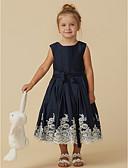hesapli Çiçekçi Kız Elbiseleri-A-Şekilli Taşlı Yaka Diz Altı Saten Aplik / Düğme / Kemer ile Çiçekçi Kız Elbisesi tarafından LAN TING BRIDE®