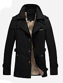 זול גברים-ג'קטים ומעילים-עכשווי עומד ארוך בלשית - בגדי ריקוד גברים / שרוול ארוך