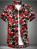cheap Men's Jackets & Coats-Men's Basic Shirt - Floral Patchwork / Print