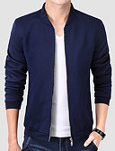 cheap Men's Tees & Tank Tops-Men's Practice Regular Jacket, Solid Colored Stand Long Sleeve Polyester Black / Navy Blue / Wine XXL / XXXL / 4XL