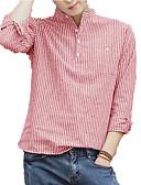 levne Pánská tílka-Pánské - Proužky Košile Světlá růžová L / Dlouhý rukáv