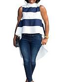 ieftine Tricou-Pentru femei Stand Tricou Ieșire Dungi