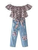 זול סטים של ביגוד לבנות-סט של בגדים קצר שרוולים קצרים טלאים טלאים ליציאה פעיל / סגנון רחוב בנות ילדים