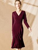 זול שמלות נשים-מידי קפלים, אחיד - שמלה בתולת ים \חצוצרה וינטאג' / סגנון רחוב בגדי ריקוד נשים