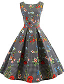 cheap Vintage Dresses-Women's Going out Vintage Cotton A Line Dress - Floral Print / Spring / Summer