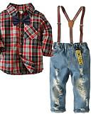 povoljno Baby Boys' One-Piece-Dijete Dječaci Karirani uzorak Dugih rukava Komplet odjeće