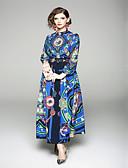 tanie Sukienki-Damskie Podstawowy Swing Sukienka - Geometric Shape, Nadruk Kołnierz stawiany Maxi / Lato