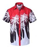 billige T-skjorter og singleter til herrer-Bomull / Lin Skjorte Herre - Ensfarget / Geometrisk / Kortermet