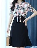 preiswerte Damen Kleider-Damen Grundlegend A-Linie Kleid Übers Knie V-Ausschnitt