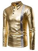 abordables Camisas de Hombre-Hombre Básico Retazos Polo, Cuello Camisero Bloques / Manga Larga