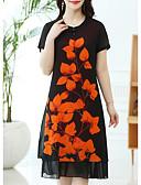 cheap Plus Size Dresses-Women's Daily Basic A Line Dress - Floral White Orange Red XXXL XXXXL XXXXXL