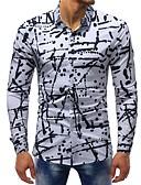 お買い得  メンズシャツ-男性用 プリント シャツ ベーシック スリム 波点 / カラーブロック コットン ホワイト / 長袖