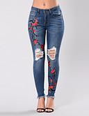 ieftine Pantaloni de Damă-Pentru femei Șic Stradă Subțire Blugi Pantaloni - Floral Talie Înaltă Albastru piscină / Sexy