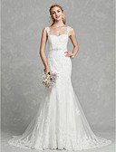 cheap Wedding Dresses-Mermaid / Trumpet Sweetheart Neckline Court Train Lace / Tulle Made-To-Measure Wedding Dresses with Appliques / Sashes / Ribbons by LAN TING BRIDE® / Beautiful Back