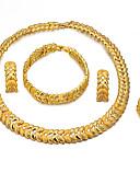 baratos Chapéus de Moda-Mulheres Camadas Conjunto de jóias - Banhado a Ouro 18K Étnico Incluir Bracelete / Brincos Compridos / Colares com Pendentes Dourado Para Noivado / namorados / Anel