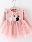 Χαμηλού Κόστους Βρεφικά φορέματα-Μωρό Κοριτσίστικα Βασικό Καθημερινά Patchwork Patchwork Μακρυμάνικο Ως το Γόνατο Βαμβάκι / Πολυεστέρας Φόρεμα Λευκό / Νήπιο