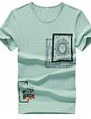 billiga T-shirts och brottarlinnen till herrar-Geometrisk Plusstorlekar Bomull T-shirt Herr Rund hals Svart XXL / Kortärmad