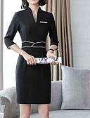 ieftine Rochii de Damă-Pentru femei Mărime Plus Size Bumbac Pantaloni - Mată Alb negru, Franjuri Negru / Mâneci Bufante