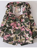 cheap Girls' Jackets & Coats-Kids Girls' Basic Print Long Sleeve Regular Polyester Trench Coat Pink