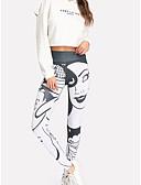 abordables Leggings para Mujer-Mujer Deportivo Legging - Un Color / Geométrico, Estampado Media cintura