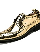 cheap Wedding Dresses-Men's Patent Leather Fall Comfort Oxfords Gold / Black / Silver