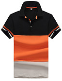 cheap Men's Ties & Bow Ties-Men's Cotton Polo - Color Block Patchwork Shirt Collar / Short Sleeve / Summer