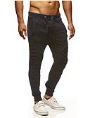 ieftine Pantaloni Bărbați si Pantaloni Scurți-Bărbați De Bază / Șic Stradă Mărime Plus Size Bumbac Pantaloni Chinos / Pantaloni Sport Pantaloni - Mată Ruched Negru