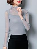baratos Blusas Femininas-Mulheres Camiseta Básico Com Transparência, Sólido