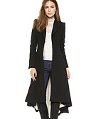 cheap Women's Wool & Wool Blend Coats-Women's Daily Basic Fall & Winter Maxi Coat, Solid Colored Turndown Long Sleeve Polyester Black L / XL / XXL